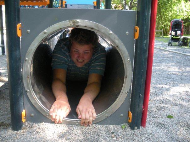 Det var trångt där inne men klart pappa ska få ha kul också!